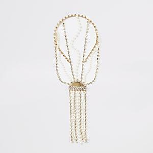 Strass-Perlen-Haaraccessoire mit Fransen