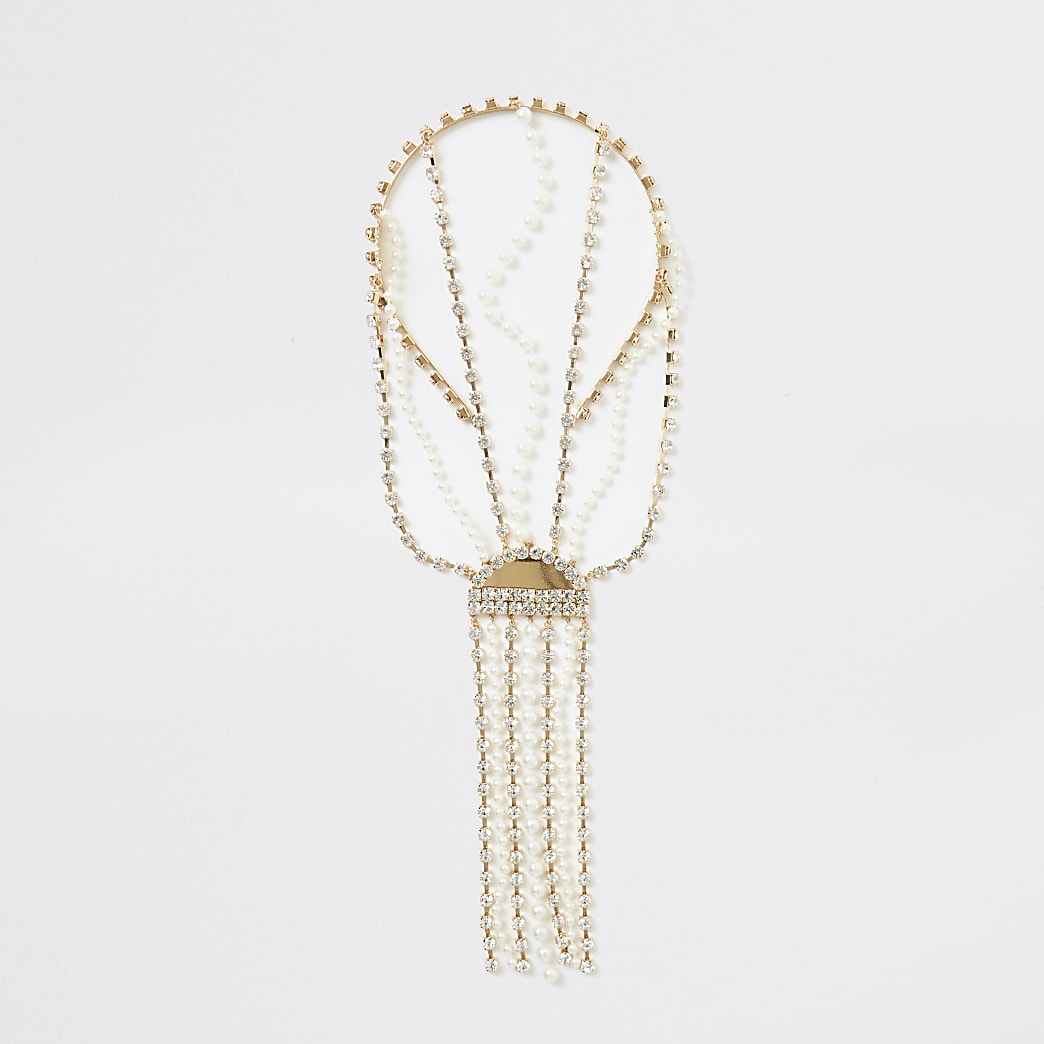 Gold colour embellished tassel back headband