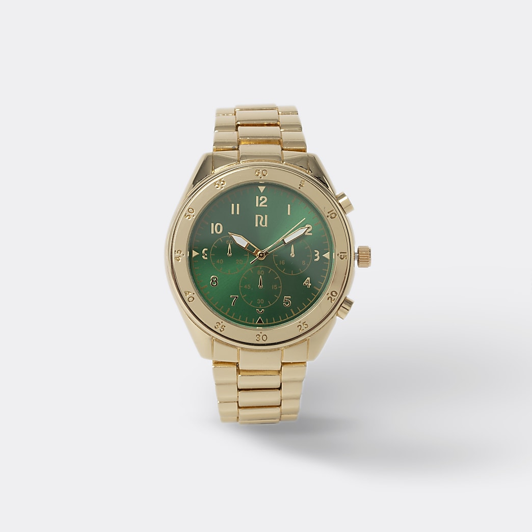 Gold colour emerald face watch