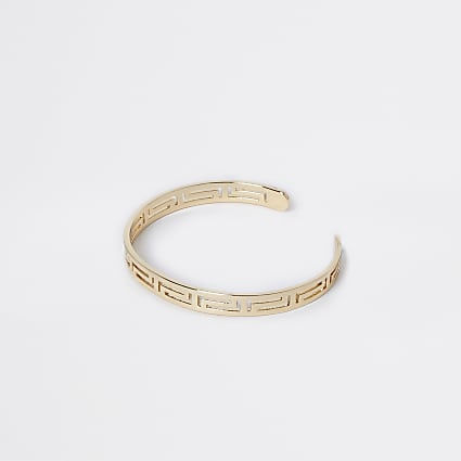 Gold colour engraved cuff bracelet