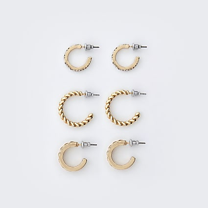 Gold colour engraved hoop earrings 3 pack