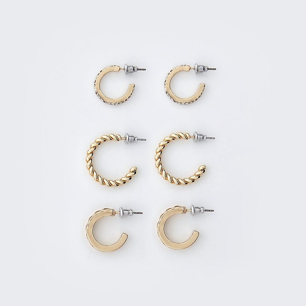 Gold colour engraved hoop earrings 3 pack