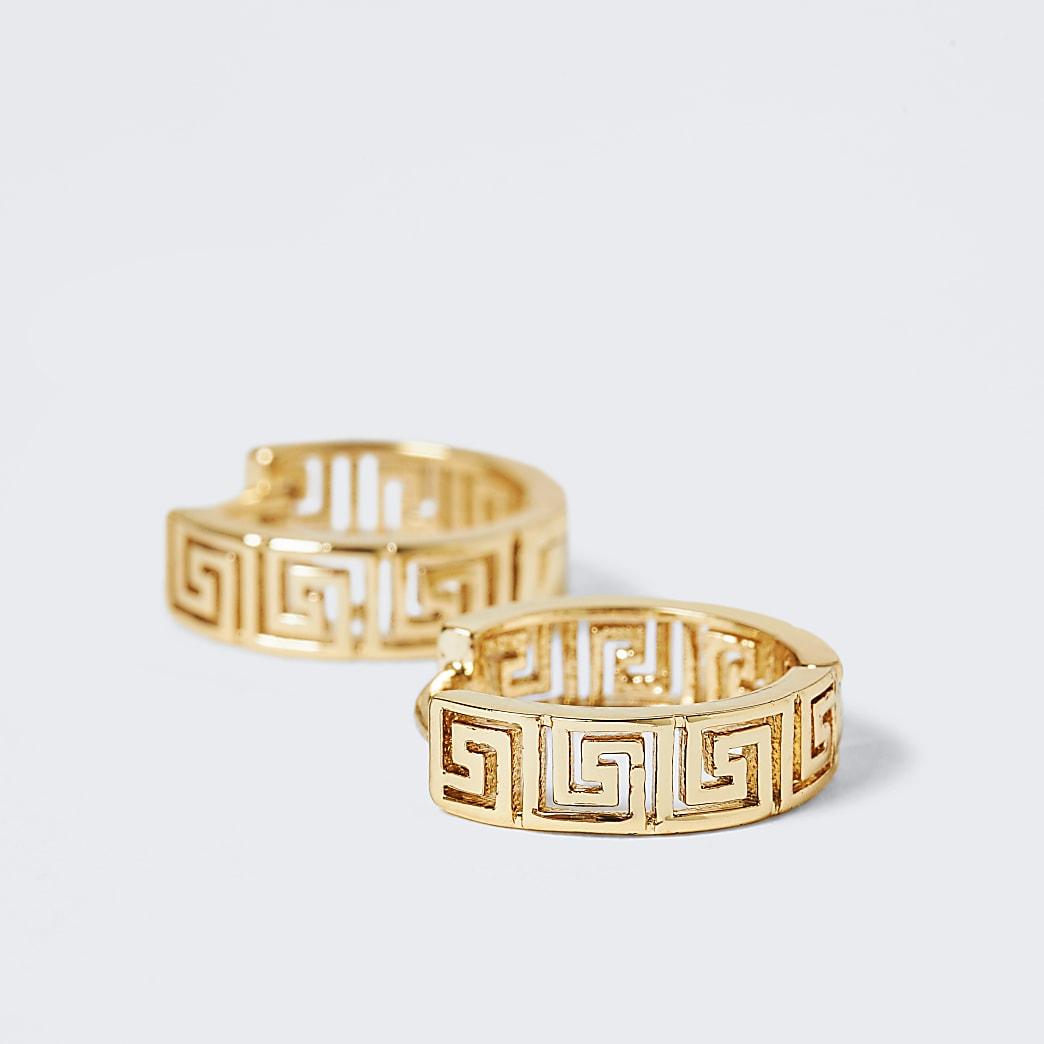 Gold colour engraved hoop earrings