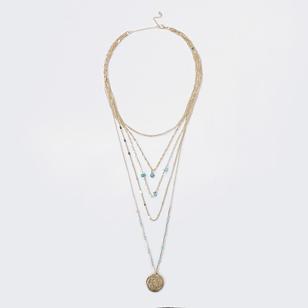 Gold colour engraved layered necklace