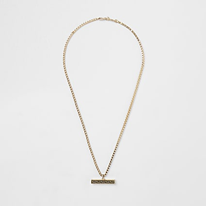 Gold colour engraved T bar necklace