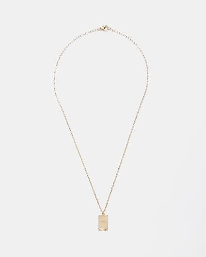 Gold colour engraved tag pendant necklace