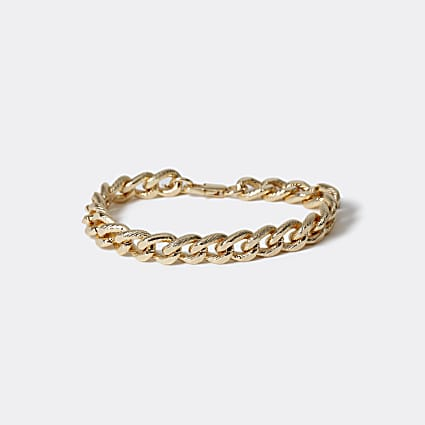 Gold colour etched chain bracelet