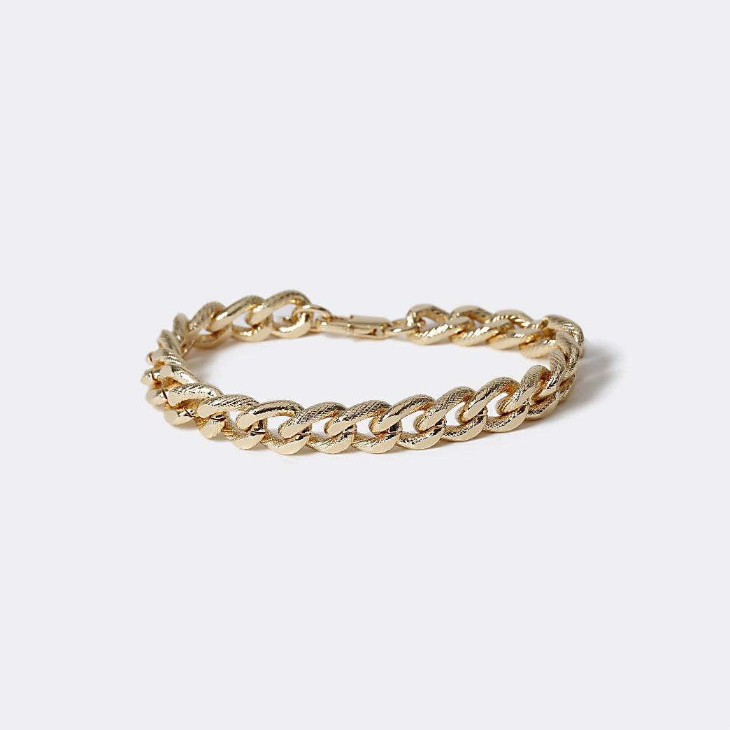 Gold colour etched chain bracelet
