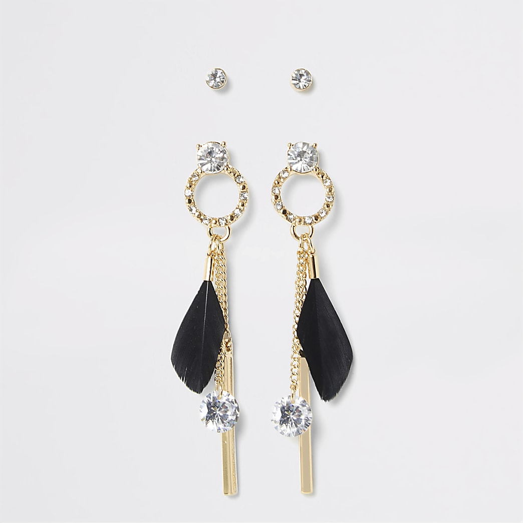 Gold colour feather drop earrings 2 pack