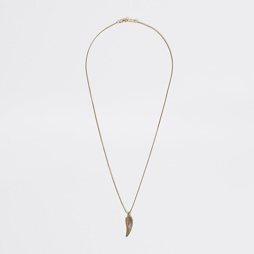 Gold colour feather pendant necklace
