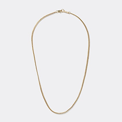 Gold colour flat chain necklace