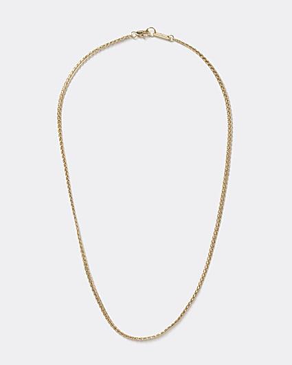 Gold colour flat chain necklace