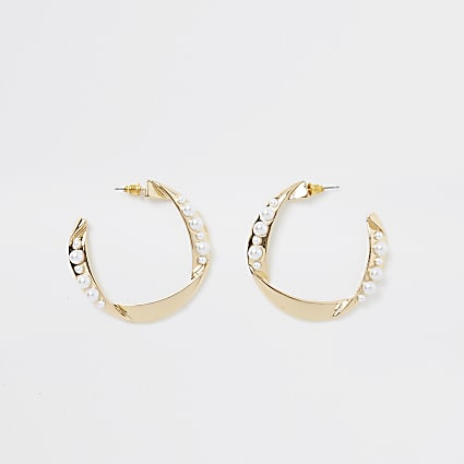 Gold colour folded pearl hoop earrings