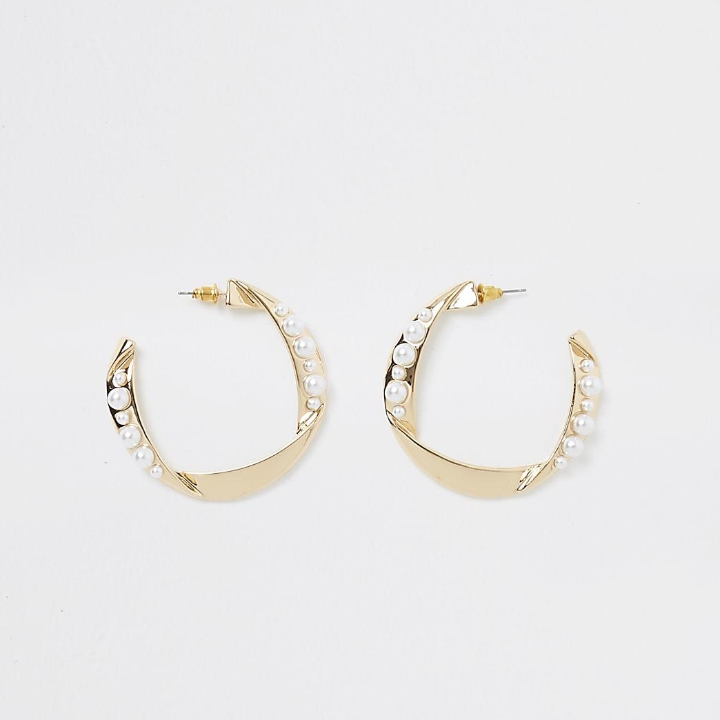 Gold colour folded pearl hoop earrings