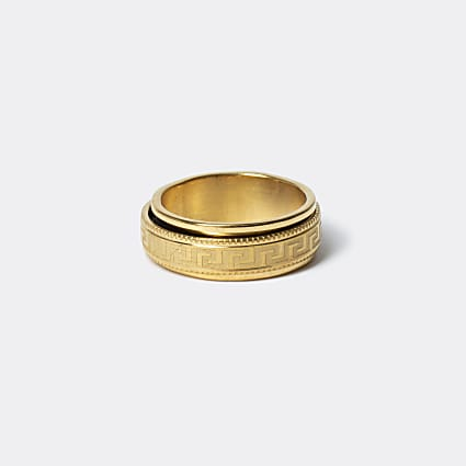 Gold colour greek embossed band ring