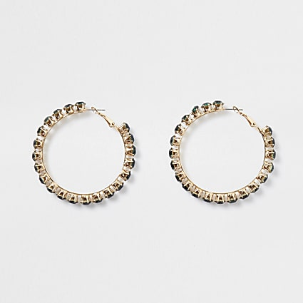 Gold colour green diamond stone hoop earrings