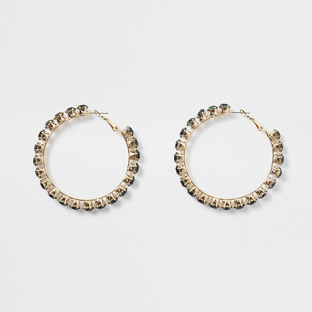 Gold colour green diamond stone hoop earrings