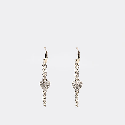 Gold colour heart and chain earrings