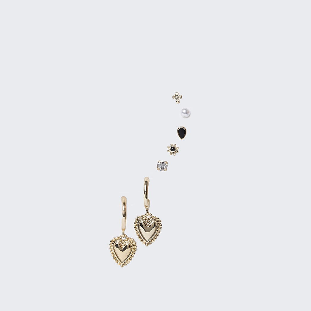 Gold colour heart and stone earrings 6 pack