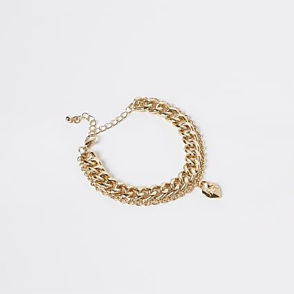 Gold colour heart chain anklet