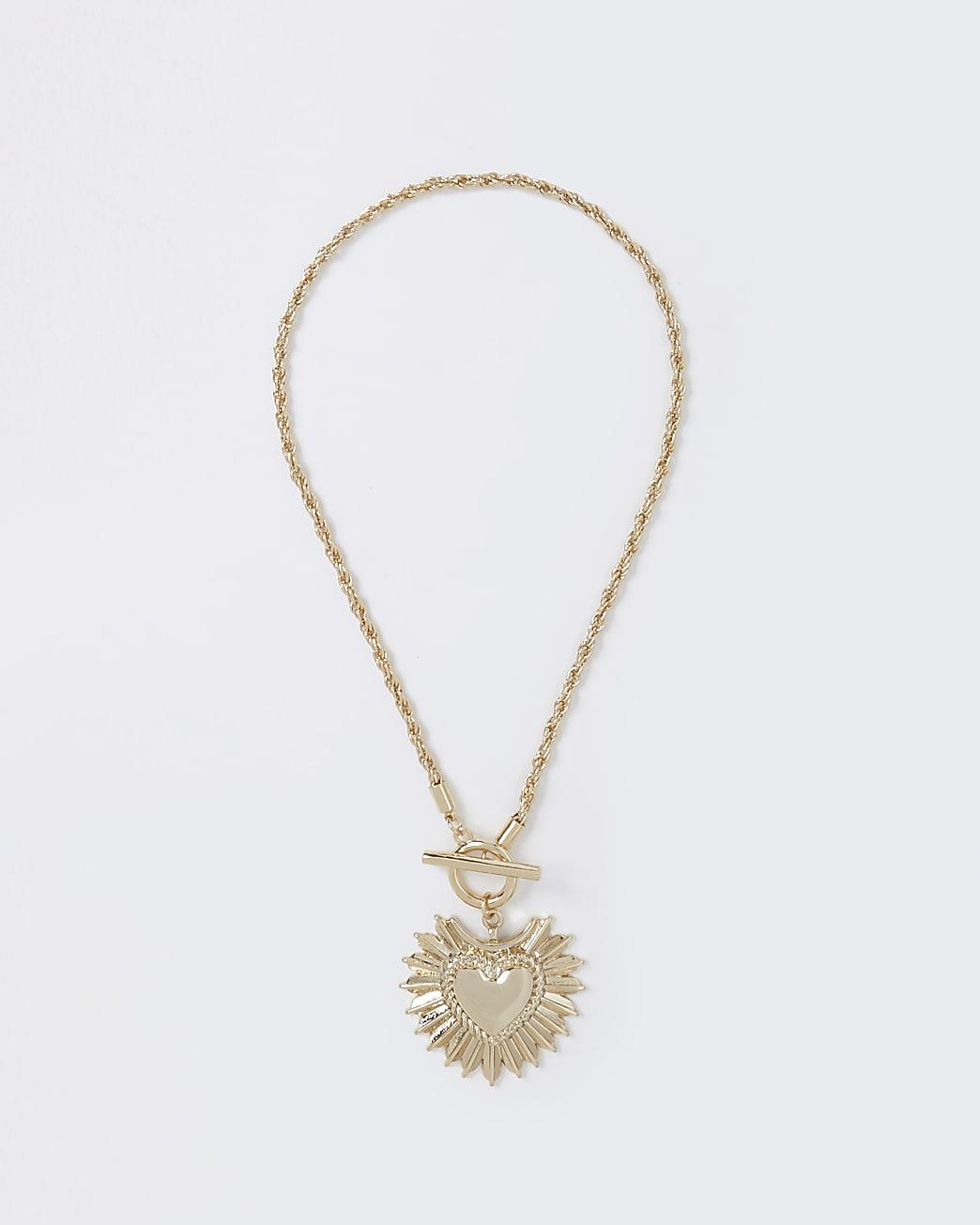 Gold colour heart pendant necklace