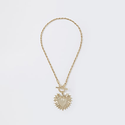 Gold colour heart pendant necklace