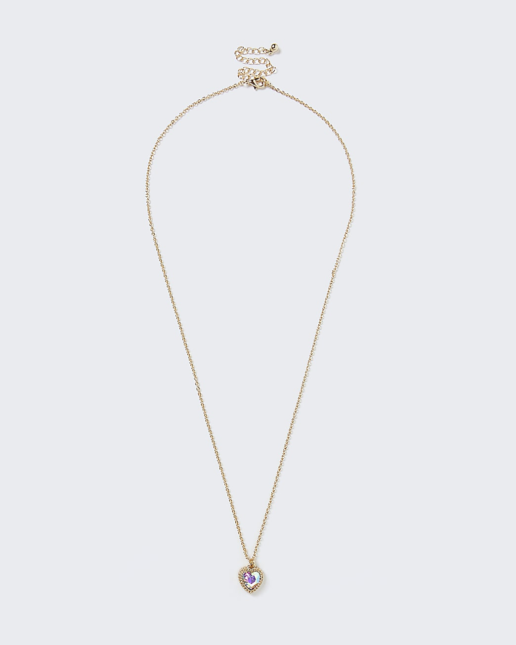 Gold colour heart stone necklace