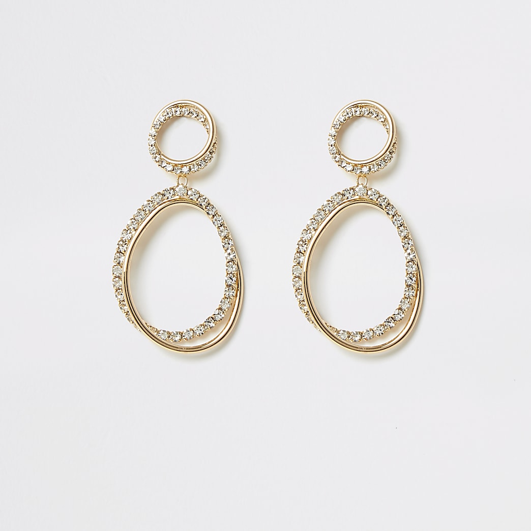 Gold colour interlinked diamante earrings