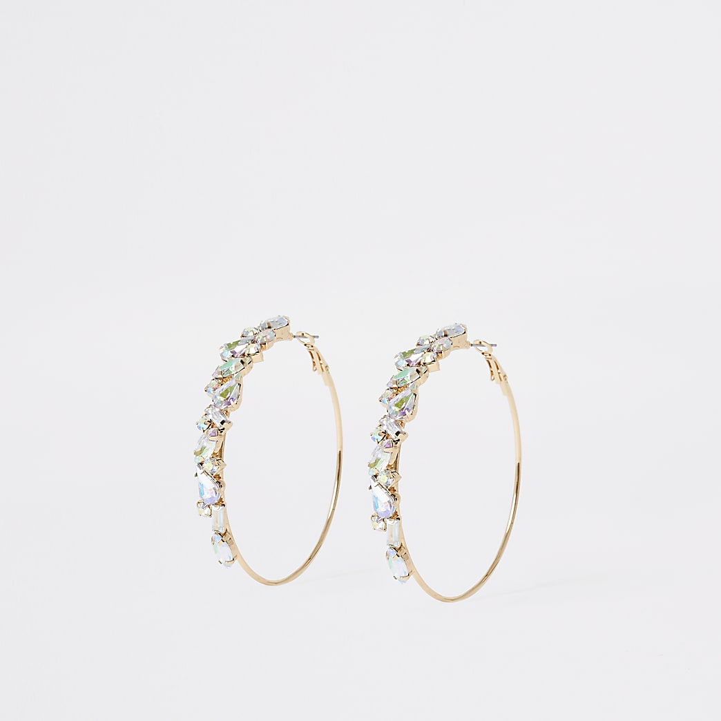 Gold colour jewel hoop earrings