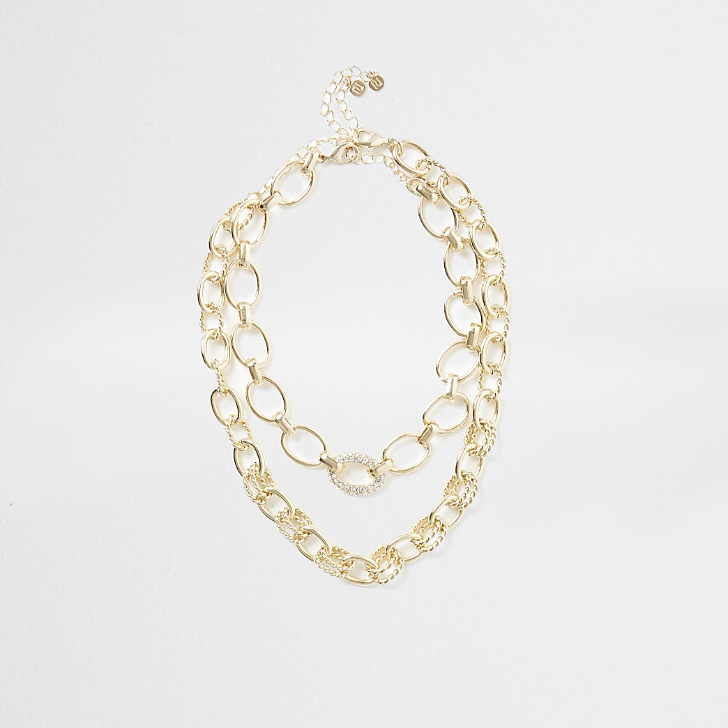 Gold colour layered chain neckalce