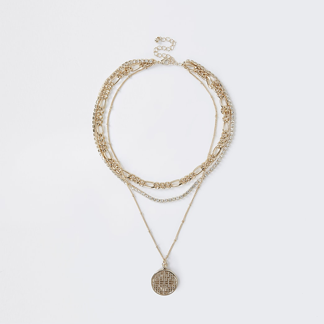 Gold colour layered chain necklace