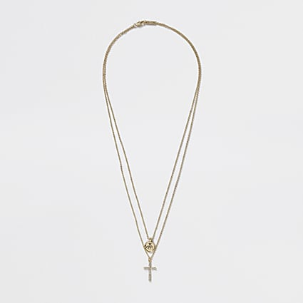Gold colour layered cross pendant necklace