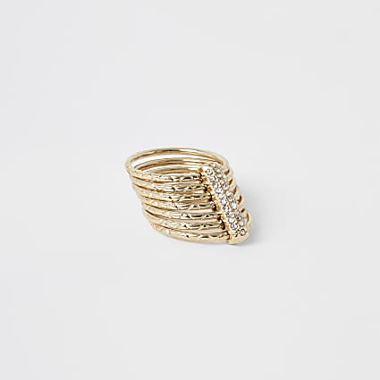 Gold colour layered diamante ring