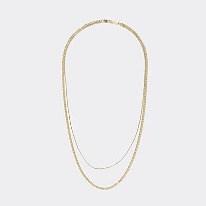 Gold colour layered fine chain necklace