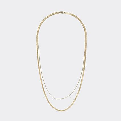 Gold colour layered fine chain necklace