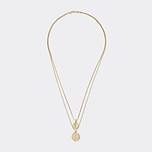 Gold colour layered pendant necklace