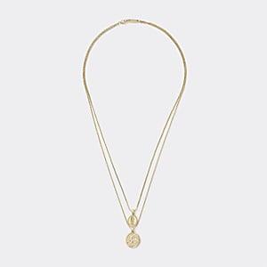 Mehrreihige Halskette in Gold mit Anhängern