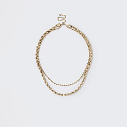 Gold colour layered twist rope necklace