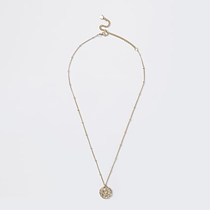 Gold colour Leo horoscope coin necklace