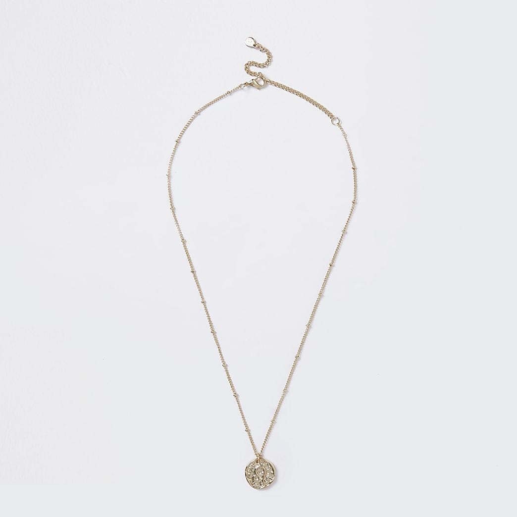Gold colour Leo horoscope coin necklace