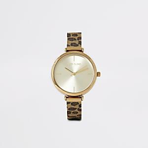 Goldfarbene Armbanduhr mit Leopardenprint und Mesh-Band
