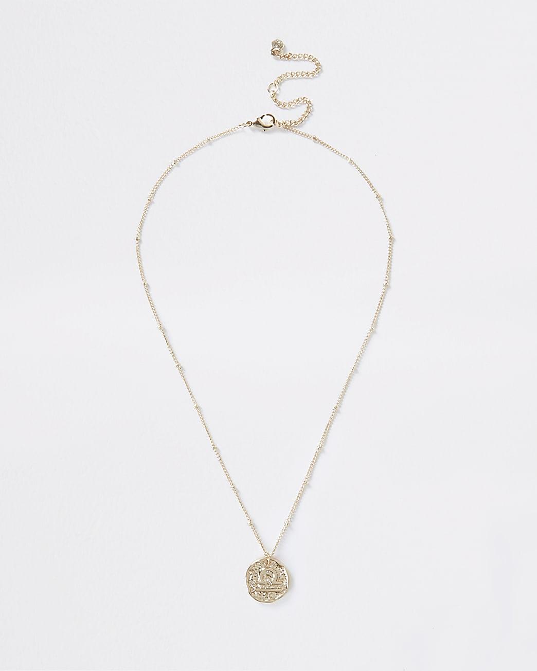 Gold colour Libra horoscope coin necklace
