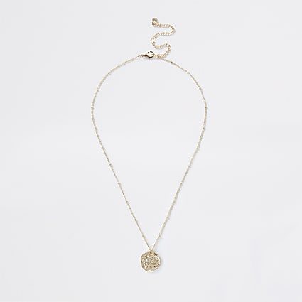 Gold colour Libra horoscope coin necklace