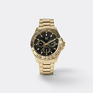 Armbanduhr mit Gliederarmband in Gold