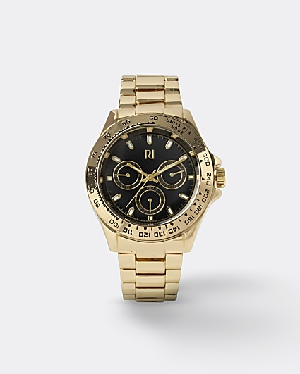 Gold colour link strap watch