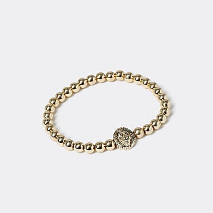 Gold colour lion beaded bracelet