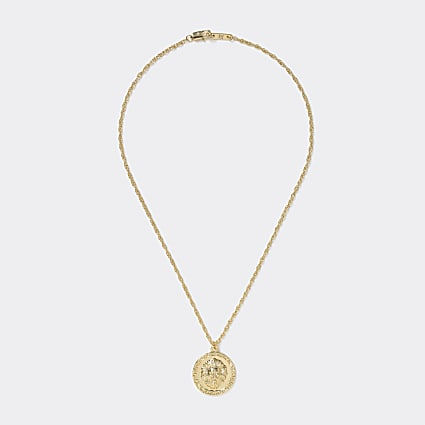 Gold colour lion coin pendant necklace