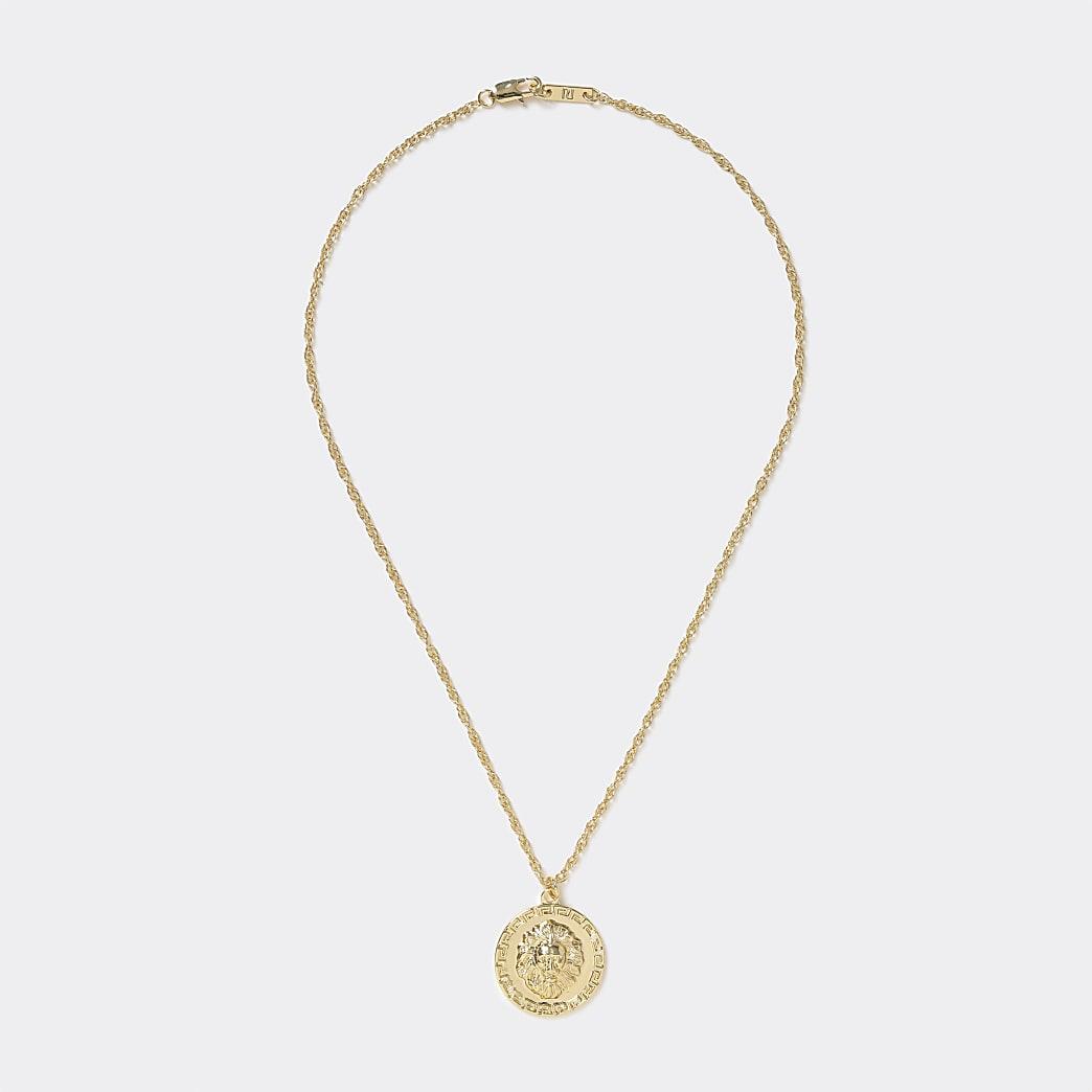 Gold colour lion coin pendant necklace