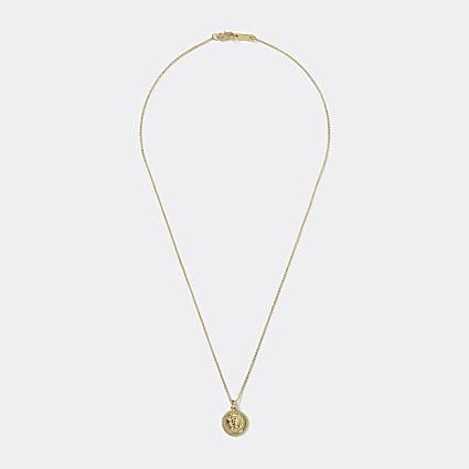 Gold colour lion embossed pendant necklace