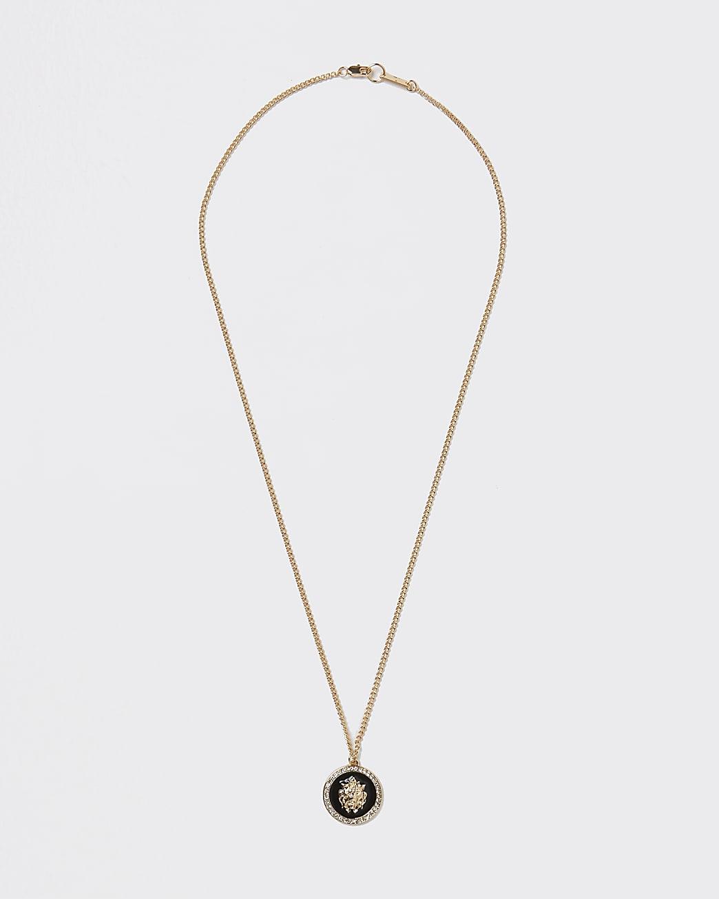 Gold colour lion pendant necklace